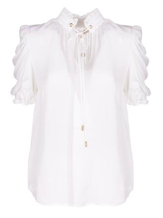 blouse high high neck white top