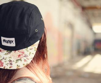 hat snapback white floral cap 5panel five panel phoenix headwear black and white phoenixclothing