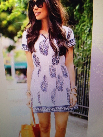 dress white and blue cotton