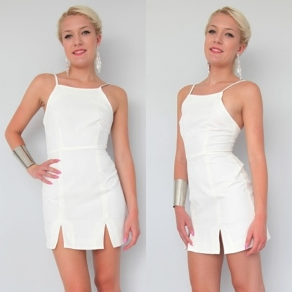 Simple Chic White Split Hem Cocktail Party Bodycon Dress 6 8 10 12 | eBay