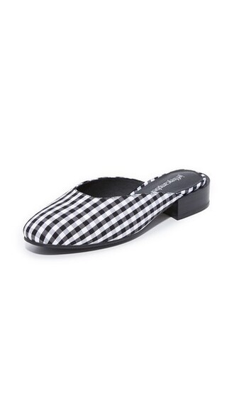 mules white black gingham shoes