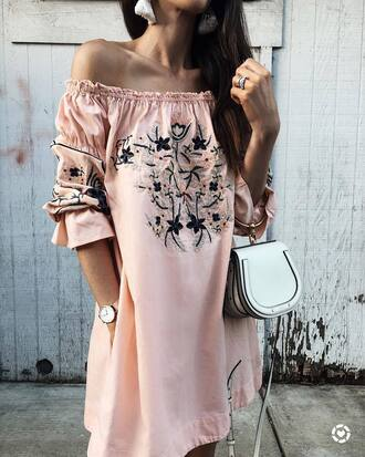 dress tumblr peach peach dress off the shoulder off the shoulder dress bag silver silver bag metallic pink dress embroidered embroidered dress