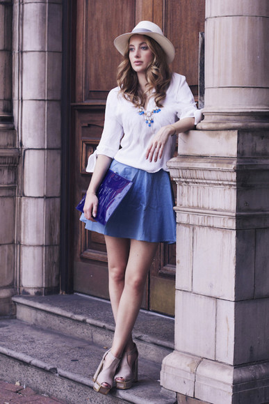 hat blogger at fashion forte jewels bag white blouse denim skirt necklace heels