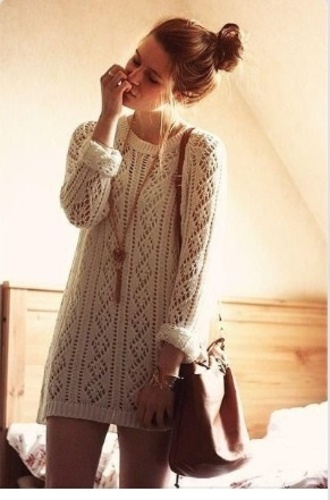 dress neutral sweater dress bag