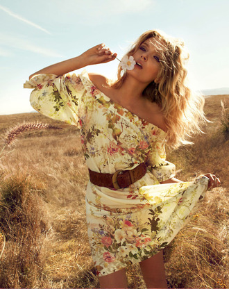 floral dress dress floral off the shoulder gypsy boho flowerdress hippie belt summer short sleeves flowers summer dress sundress beige peach flowing flows loose casual