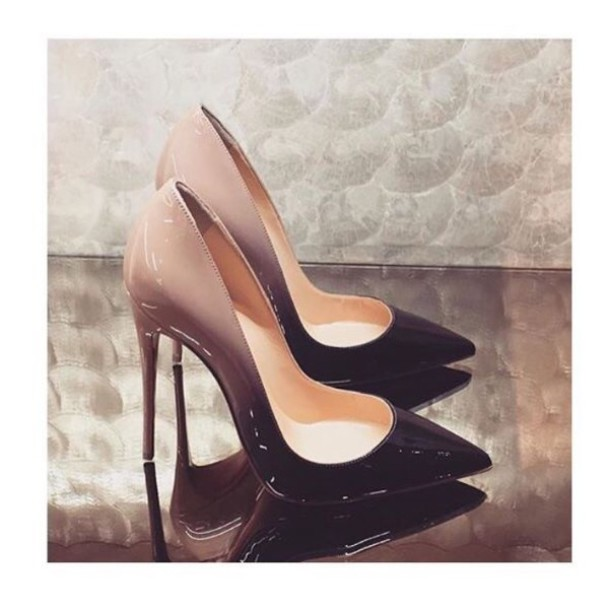 f8a313b07f shoes ombré heels black and nude nude heels high heels ombre high heel  pumps patent shoes
