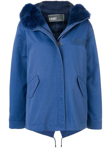 Army Yves Salomon jacket denim jacket denim fur fox women cotton blue