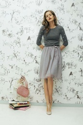 skirt,grey,pretty,cute,grey tulle skirt