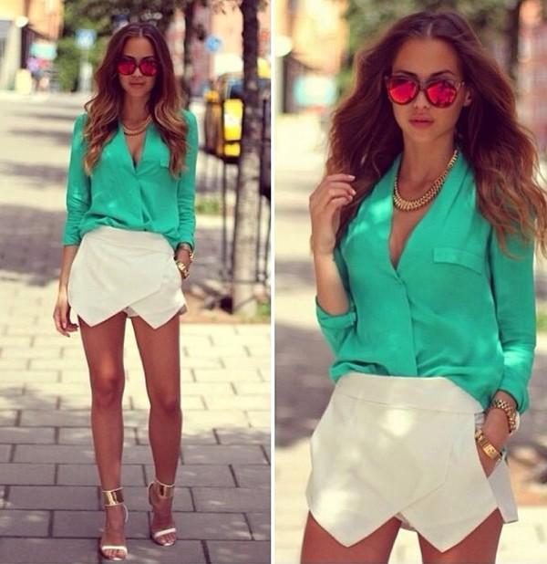 shirt green pants white tourquoise