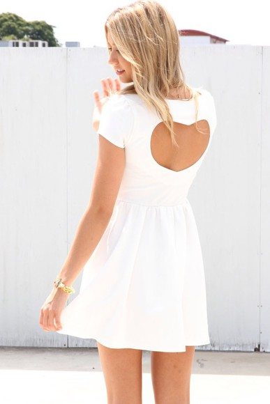 hearts white white dress heart back heart back dress little dress sundress
