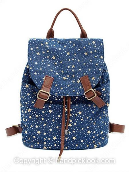 Blue Fashion Five-pointed Star Print Backpack - HandpickLook.com