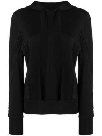 hoodie women spandex lace black sweater