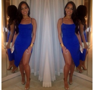 dress straps blue dress royal blue dress elegant slit dress bodycon navy cami camisole slit thigh slit dressy party tumbrl