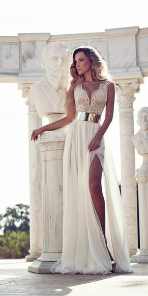 gold beautiful ivory prom clothes ivory dress