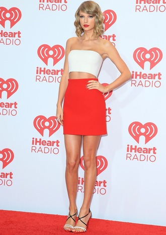 skirt red mini skirt red skirt mini skirt tube top top white top taylor swift celebrity style celebrity high heel sandals sandals red carpet