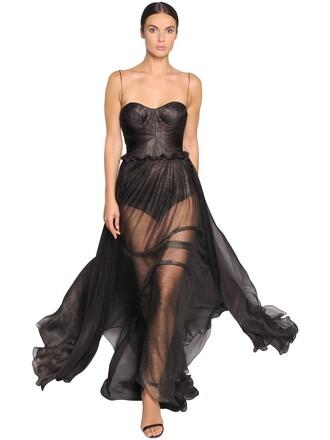 gown metallic silk silver black dress