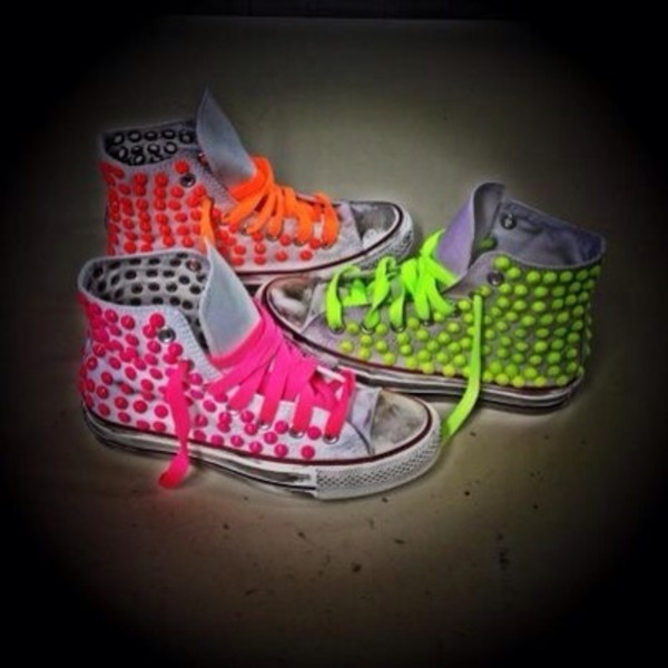 shoes converse converse fluo all star camouflage studs scarpe borchie