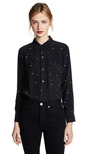 Rails shirt rainbow black stars top