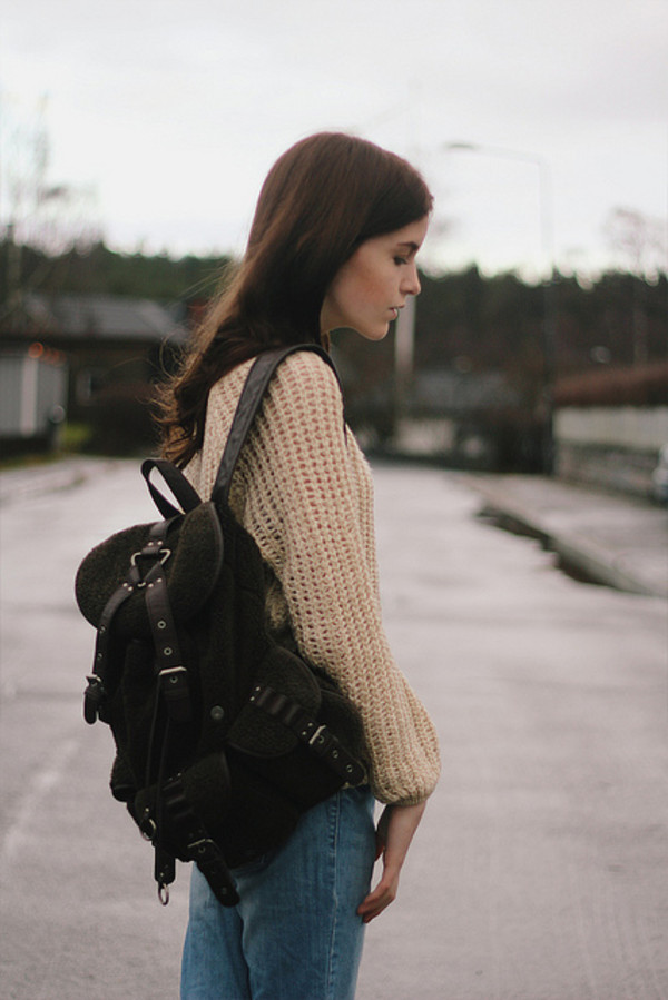 rucksack backpack leather backpack black dark colours bag