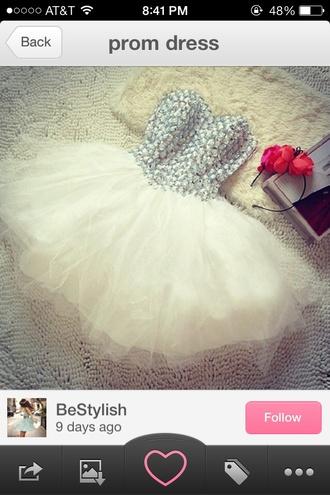dress short white dress strapless dress silver and white prom dress