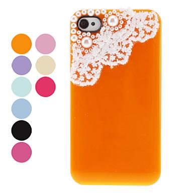 Beschermende achterkant van de behuizing met Pearl en Kant voor iPhone 4/4S (verschillende kleuren) - USD $ 5.99