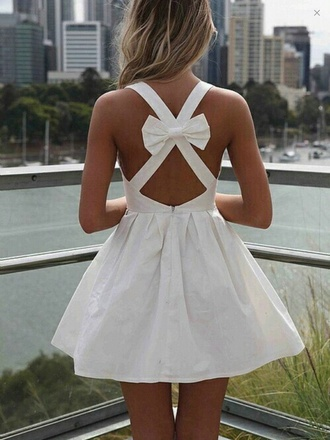 white dress white bow dress bow back dress dress