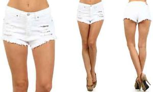 Size High Waist Distressed Frayed High Cut Short White Denim ...