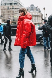 jacket,tumblr,hooded jacket,red jacket,down jacket,puffer jacket,streetstyle,oversized jacket,oversized,denim,jeans,cuffed jeans,boots,black boots,high heels boots,ankle boots