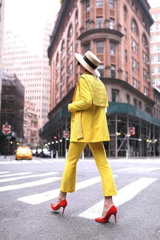 jacket yellow pants hat tumblr yellow blazer pants matching set office outfits spring outfits pumps pointed toe pumps high heel pumps sun hat