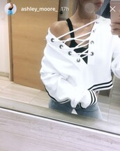 sweater,ashley moore,model,white,white sweater,hoodie