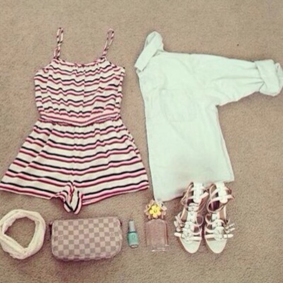 waist short stripes jumpsuit