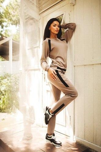 jumpsuit comfy cute suit set beige sweatshirt blazer top sweatpants pants sweatsuit set