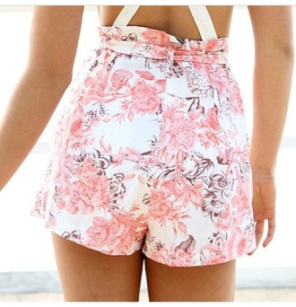 shorts pink white brown floral cute suspenders ruffle belt summer chic fashion clothes spring beach california tan skin flowers rose roses pink roses pretty flower child