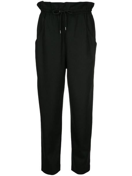 En Route - drawstring straight leg trousers - women - Wool - 1, Black, Wool