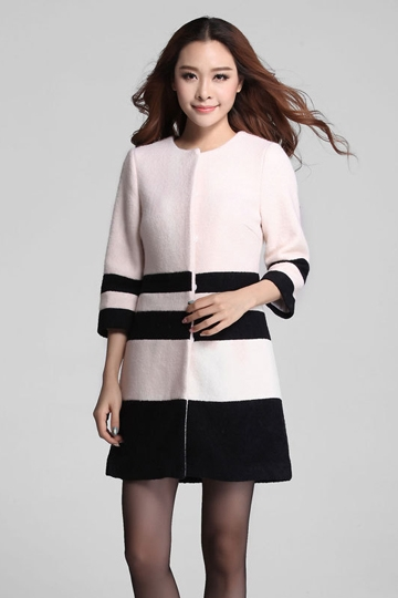 Color Block Stripe Slim White Wool Coat [FEBK0419]- US$51.99 - PersunMall.com