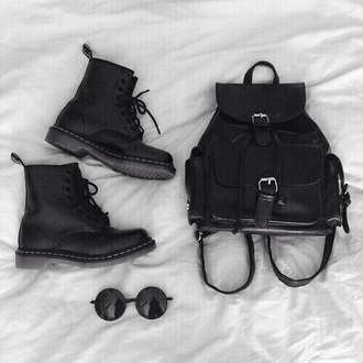 bag black leather backpack leather backpack grunge indie cool all black everything sunglasses unisex shoes