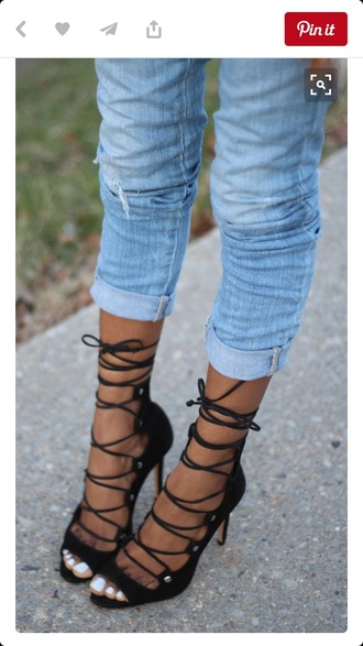 shoes strappy strappy heels laced up heels black heels black