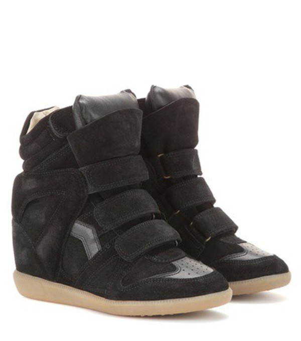 Isabel Marant étoile Bekett Leather And Suede Wedge Sneakers in black