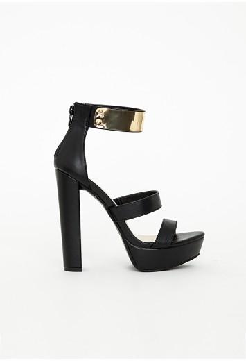 Gold ankle strap platform heeled sandals black