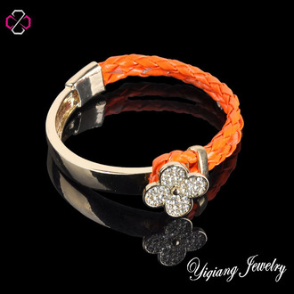 jewels charm bracelet leather bracelet floral