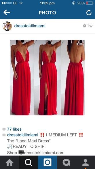 dress red long drape
