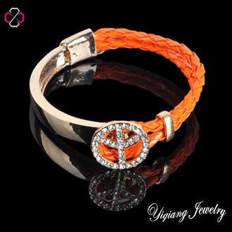 jewels charm bracelet leather bracelet peace sign