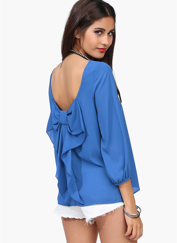 Blue back bow blouse