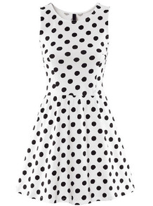 White sleeveless polka dot ruffle dress
