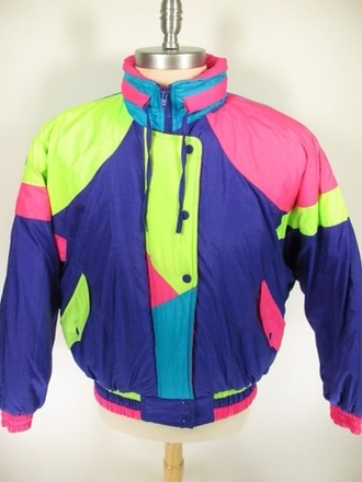 jacket retro vintage ski jacket bomber jacket 80s style 90s style shellsuit colorful windbreaker