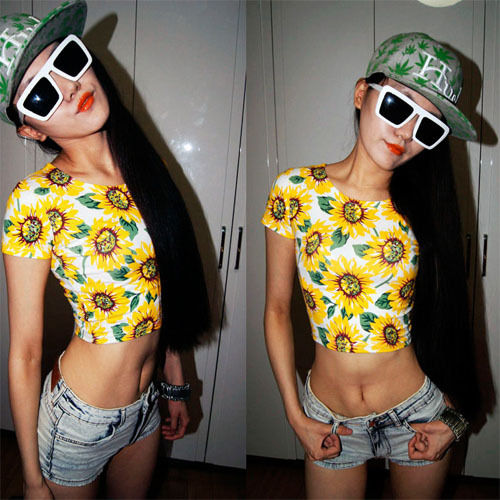 Sexy Belly Women Sunflower Print Bare Midriff Crop Top Shirt Girl Tee 8 10 12 | eBay