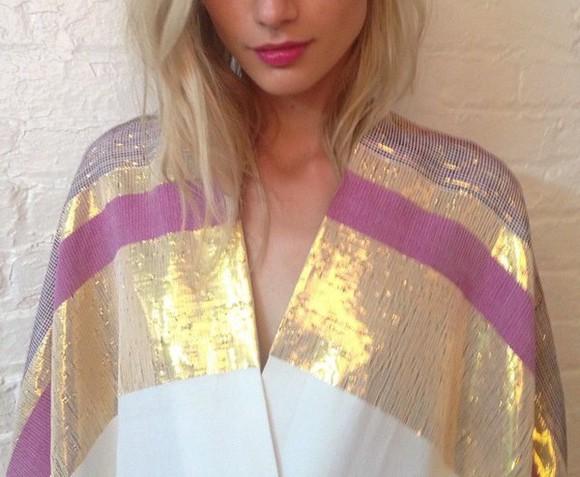 cardigan kimono colorblock gold vintage