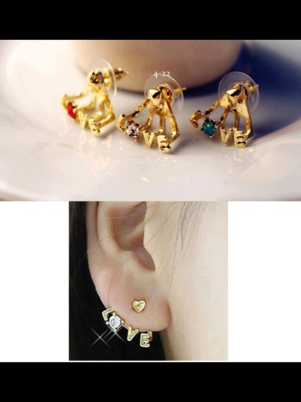 jewels earrings love gold diamonds