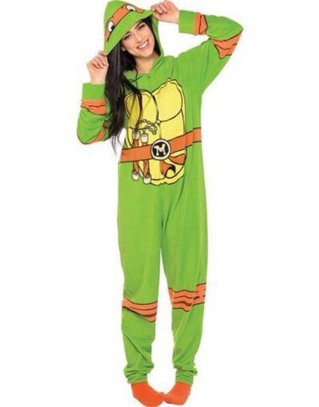 cute pajamas onesie teenage mutant ninja turtles green