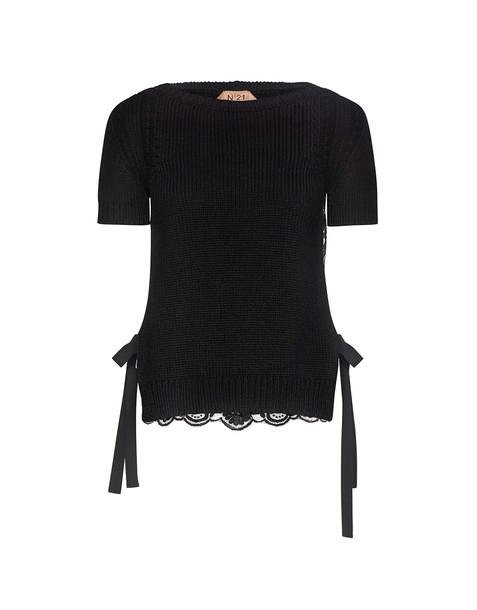 No.21 top back lace floral black knit